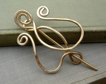Unfurling Tulip Lyre Flower Brass Shawl Pin, Scarf Pin, Sweater Brooch, Fastener, Cardigan Closure Knitters Gift Women Knitting Accessories