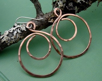Big Copper Hoop Swirl Earrings, Hammered Hoop Earrings, Copper Jewelry, Copper Earrings, Big Copper Hoops, Teen Girl Gift for Her, Women