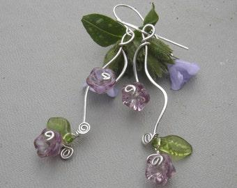Vining Lilac Purple Flowers and Tendrils Earrings, Czech Glass Flower Earrings, Spring Dangle Sterling Silver Wire Jewelry, Women,