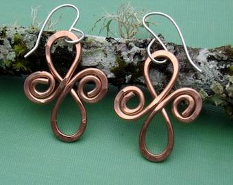 Celtic Infinity Spirals Copper Earrings - Celtic Jewelry - Hammered Dangle Wire Metalwork - Women Christmas Gift, Celtic Earrings