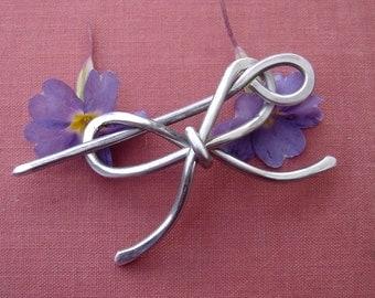 Bow Tie Aluminum Shawl Pin, Scarf Pin, Hair Pin, Sweater Clip Brooch, Shrug Fastener, Barrette - Ribbon Bowtie - Hair Accessories - Wire