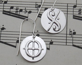 Dal Segno and Coda Music Earrings, Music Gift, Music Jewelry, Musician Gift, Teacher, Sterling Silver, Notation, Women