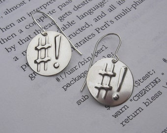 Shebang Sterling Silver Earrings - Programmer Jewelry - Geek, Hashtag, Nerd, Computer Jewelry