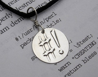 Shebang Sterling Silver Pendant - Totally Geeky Necklace - Programmer Nerd Jewelry, Coder, Unix, Computer