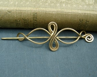 Little Brass Celtic Infinity Loops Shawl Pin, Scarf Pin, Sweater Brooch,Fastener, Closure - Celtic Knot Knitting Accessory - Lace Shawl Pin
