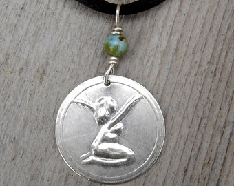 Goddess Sterling Silver Pendant with Turquoise - Kneeling Woman Finding Her Bliss Necklace - Women, Inspirational Jewelry, Goddess Jewellery