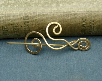 Little Brass Dancing Waves and Swirls Shawl Pin, Scarf Pin, Sweater Brooch, Lace Shawl Pin  - fingering weight, women, knitting accessories