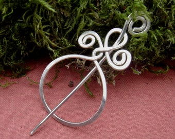 Little Circle With A Twist Sterling Silver Lace Shawl Pin, Scarf Pin, Sweater Brooch, Shrug Fastener - Women, Knitting  Accessories
