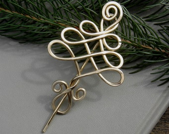 Brass Celtic Tree Shawl Pin Scarf Pin Sweater Brooch Christmas Tree Jewelry for Knitters Tree of Life Christmas Gift Women Knitting Tree Pin