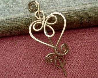 Little Brass Celtic Heart Shawl Pin, Scarf Pin, Sweater Clip, Heart Brooch, Women, Knitting Accessories, Heart Jewelry, Lace Shawl Pin