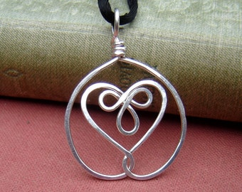 Celtic Embraced Heart Sterling Silver Pendant, Heart Necklace, Heart Pendant Christmas Gift for Wife Celtic Knot Jewelry Women Heart Jewelry