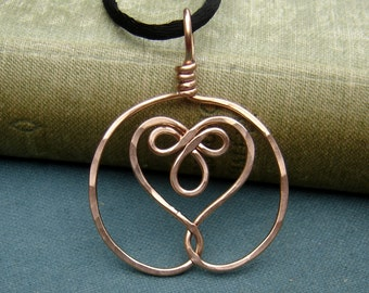 Celtic Embraced Heart Copper Pendant Celtic Necklace, Celtic Heart Necklace Copper Jewelry Copper Necklace Gift for Her Copper Heart Jewelry