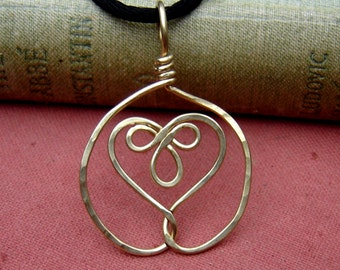 Celtic Embraced Heart Pendant Necklace Brass Celtic Heart Necklace Celtic Knot Wire Women Celtic Jewelry Handmade Gift for Her Heart Jewelry