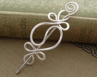 Little Yin Yang Harmony Sterling Silver Shawl Pin, Scarf Pin, Sweater Brooch - Hammered Silver Wire - Lace Shawl Pin - Womens Accessory