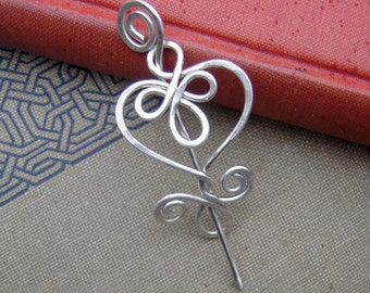 Little Celtic Heart Sterling Silver Shawl Pin, Scarf Pin, Silver Brooch, Cardigan Closure, Knitting Accessories, Women, Knitters Jewelry
