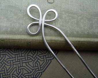 Trinity Loop Sterling Silver Hair Fork, Hair Sticks, Shawl Pin, Scarf Pin - Long Hair Accessory - Bun Holder, Hair Comb - Long Hair Toy