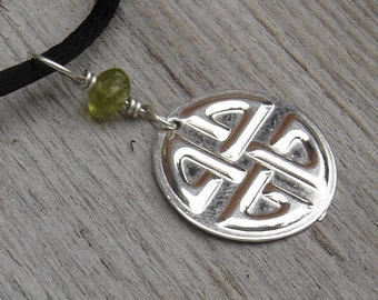 Celtic Knot Pendant Necklace - Sterling Silver and Peridot - Celtic Jewelry - Gift for Women, Saint Patrick's Day - Irish, St. Patrick's Day