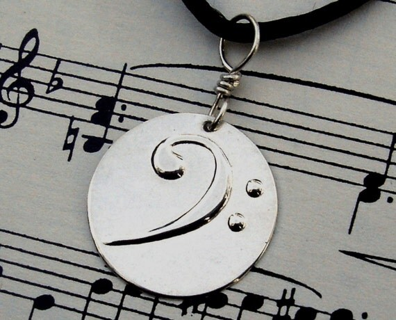 Bass Clef Sterling Silver Stamped Pendant