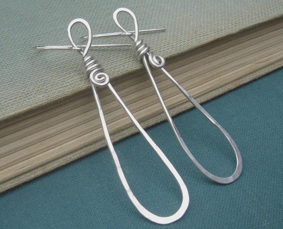 Long Teardrop Loop Sterling Silver Earrings, Dangle Wire Silver Earrings - Spirals, Wife,Teen Girl, Women, Jewelry, Jewellery