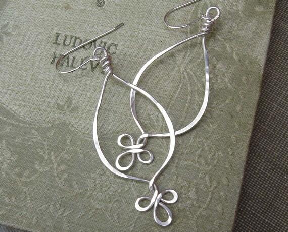 Fancy Loops Long Teardrop Earrings - Sterling Silver Dangle Earrings - Silver Wire Earrings, Silver Wire Jewelry