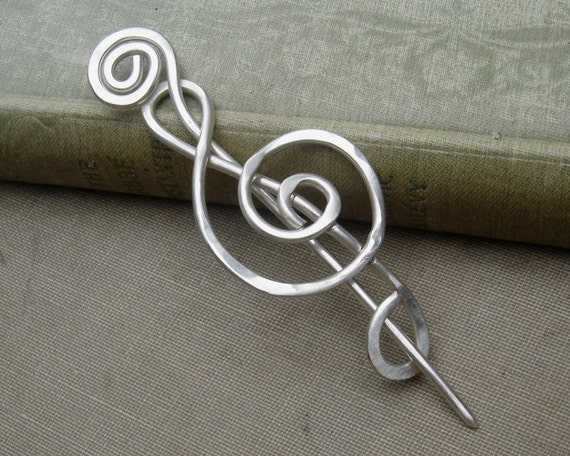 Treble Clef Sterling Silver Shawl Pin, Scarf Pin, Sweater Brooch, Hair Pin, G Clef Music Jewelry, Musician Gift for Her Knitting Accessories