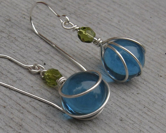 Little Teal Glass Marbles with Olive Green Wirewrapped Earrings