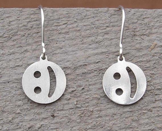 Cute Little Geeky Emoticon Smiley Face Earrings - Teen Girl Gift Sterling Silver - Happy Face Nerd Jewelry for Women- Geekery Teens