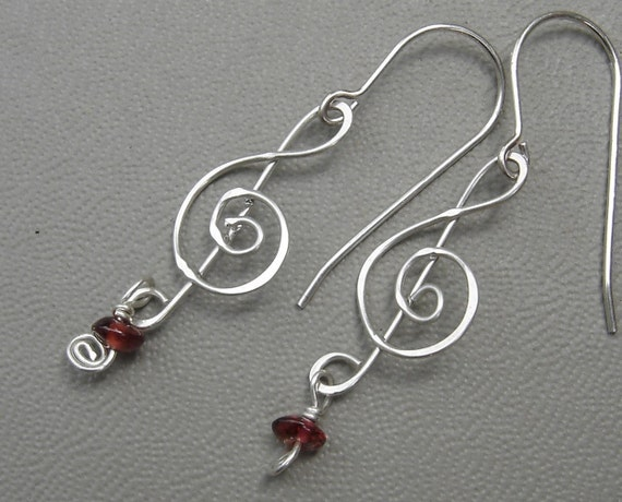 Treble Clef Earrings Silver with Garnet - Music Jewelry - Musician - G Clef Dangle & Drop Earrings - Music Note -Women, Music Teacher Gift