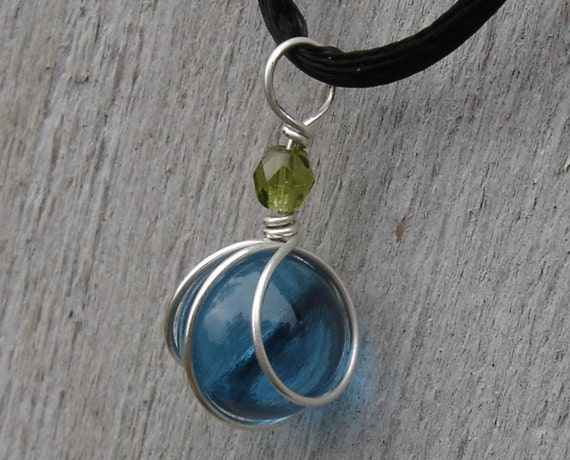 Little Teal Glass Marble with Olive Green Sterling Silver Wirewrapped Pendant