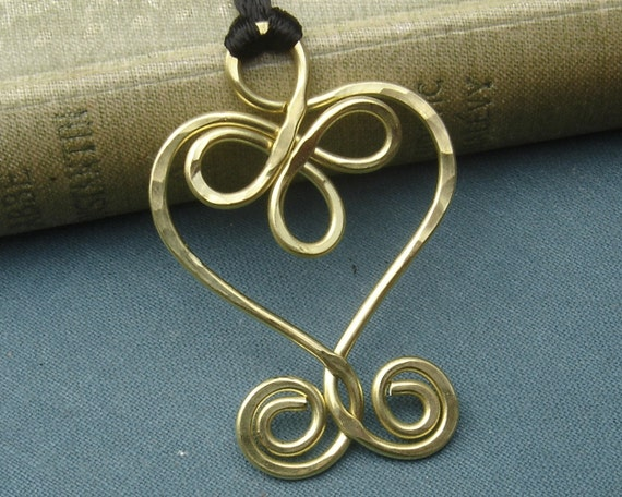 Celtic Heart and Swirls Brass Necklace, Heart Pendant, Celtic Jewelry, Heart Necklace, Celtic Knot, Handmade Christmas Gift, Women
