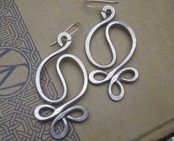 Aluminum Yin Yang Harmony Very Big Earrings, Light Weight Gift for Her Jewelry, Metal Wire - Handmade Hammered Dangle, Women, Boho Earrings