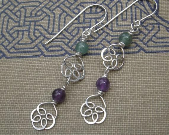 Celtic Knot Flower Silver Long Dangle Earrings - Amethyst and Aventurine Double Swirl - Celtic Jewelry, Stone Beads, Women