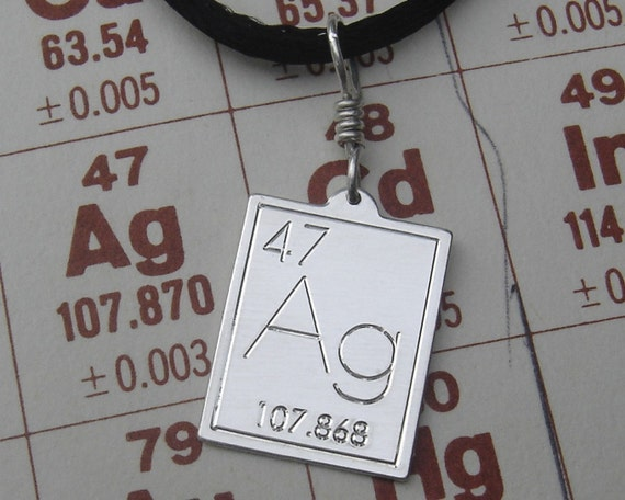 Silver Periodic Table Pendant, Atomic Symbol Silver Science Necklace, Science Jewelry, Geekery, Scientist, Teacher Gift, Chemistry Element
