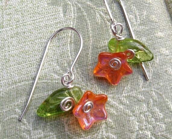 Little Orange Czech Glass Flower and Leaves Earrings
