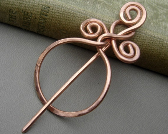 Circle With A Twist Copper Shawl Pin ,Scarf Pin, Sweater Brooch, Sweater Closure, Fastener, Shrug Pin - Knitting Accessories