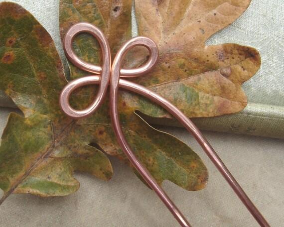 Trinity Loop Copper Hair Fork, Metal Hair Comb, Hair Picks, Shawl Pin, Scarf Pin, Bun Holder, Long Hair Accessories, Hair Sticks, Women