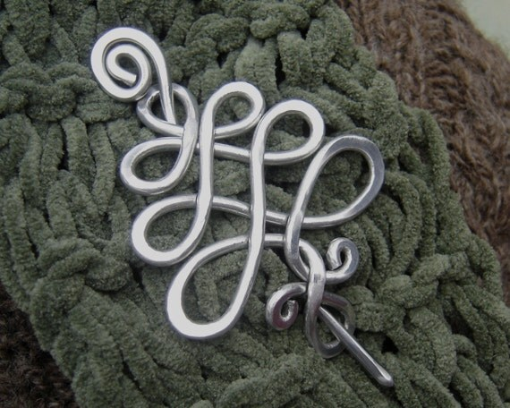 Aluminum Celtic Tree Shawl Pin, Scarf Pin, Sweater Clip  Brooch, Fastener, Women Knitting Accessory, Christmas Tree, Tree of Life,
