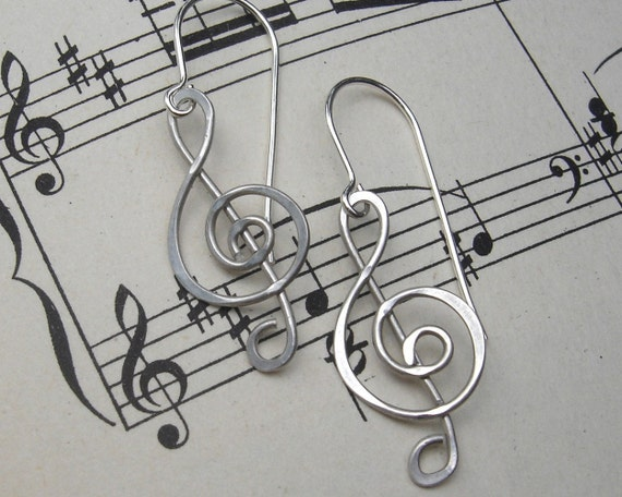 Treble Clef Earrings, G Clef Musician Gift, Music Jewelry, Music Note Gift for Her, Women, Sterling Silver Wire, Music Teacher
