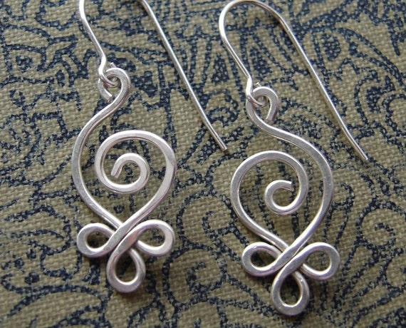 Celtic Sterling Silver Wire Earrings, Budding Spiral Swirl Earring, Mother's Day Gift Celtic Jewelry, Celtic Earrings, Women, Handmade