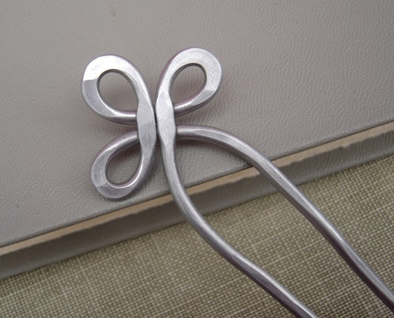 Trinity Loop Aluminum Double Hair Fork, Shawl Pin, Hair Sticks, Bun Holder Hair Comb Long Hair Accessory, Knitting Accessories, Light Weight