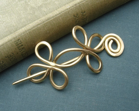 Celtic Double Crossed Loops Brass Shawl Pin, Hair Pin, Scarf Pin, Hair Slide, Fastener, Sweater Clip Closure Jewelry, Knitting Accessories