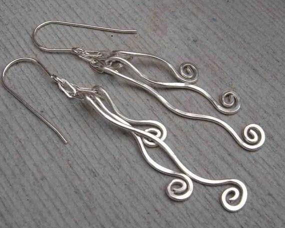 Tangle Dangle Swinging Vines Long Silver Earrings, Sterling Silver Dangle Earrings, Fringe Jewelry, Women, Spirals, Silver Wire Earrings