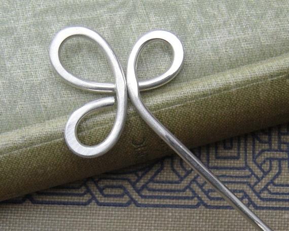 Trinity Clover Loops Sterling Silver Hair Stick, Shawl Pin, Scarf Pin, Bun Holder, Hair Pin, Long Hair Accessories, Women, Knitting