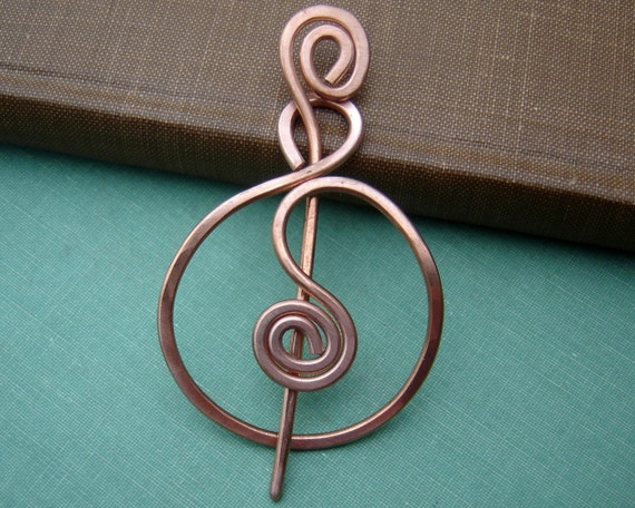 Spiraling Full Circle Copper Shawl Pin, Scarf Pin, Sweater Brooch, Fastener, Women Knitting Accessories
