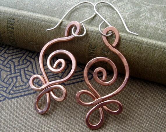 Celtic Budding Spiral Copper Earrings - Dangle Earrings - Celtic Jewelry - Copper Jewelry, Wire, Gift for Women, Jewellery