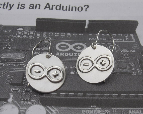 Arduino Nerd Earrings - Sterling Silver, Geekery, Science Jewelry, Electronics, Computing, Geek Women