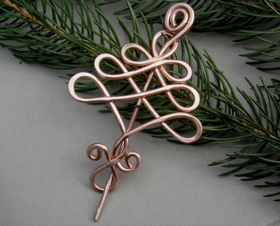 Copper Celtic Tree Shawl Pin, Scarf Pin, Sweater Clip Brooch, Fastener, Christmas Tree, Tree of Life - Celtic Knot - Knitting Jewelry