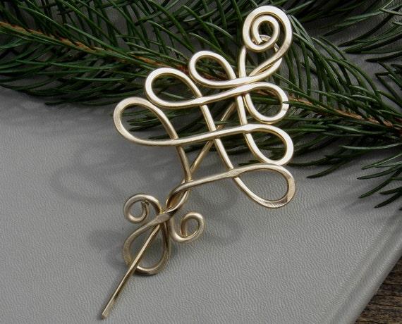 Brass Celtic Tree Shawl Pin, Scarf Pin, Sweater Brooch - Christmas Tree Jewelry- Brass Wire - Tree of Life - Women, Knitting Accessories