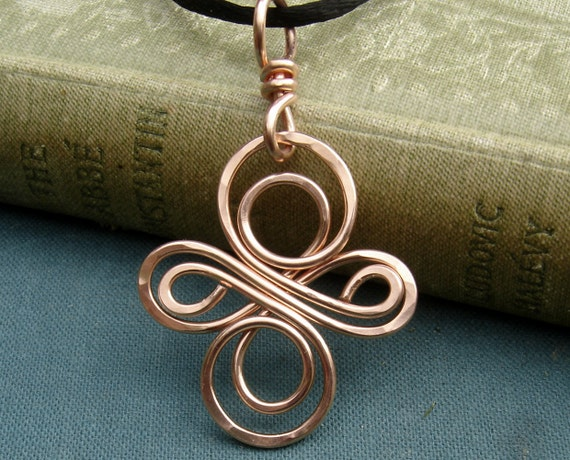 Celtic Knot Infinity Swirl Cross Copper Pendant, Mother's Day Gift Celtic Knot Cross, Celtic Necklace, Celtic Jewelry, Celtic Cross Pendant