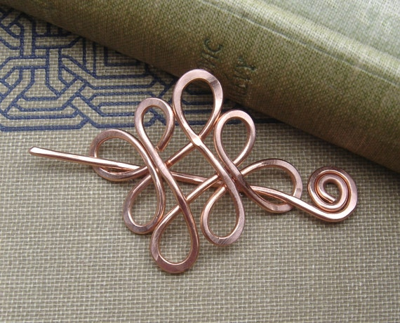 Little Looping Celtic Crossed Knots Copper Shawl Pin, Scarf Pin, Sweater Brooch, Small Lace Shawl Pin Gifts for Knitters Celtic Pin